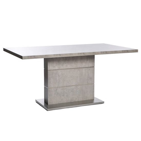 Prestina Dining Table In Concrete Effect And Brushed Steel Base
