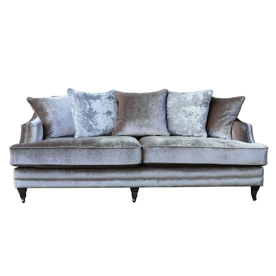 Preston 4 Seater Sofa In Champagne Velvet With Dark Wooden Legs