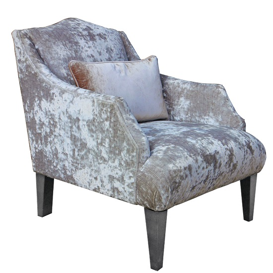 Preston Sofa Chair In Champagne Velvet With Dark Wooden Legs