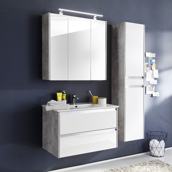 Priano Bathroom Set In Stone Grey White Gloss Fronts With LED