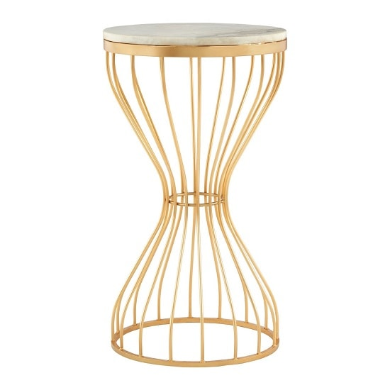 Prima Hourglass Design Marble Top Side Table With Gold Frame_3