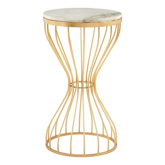 Prima Hourglass Design Marble Top Side Table With Gold Frame_1