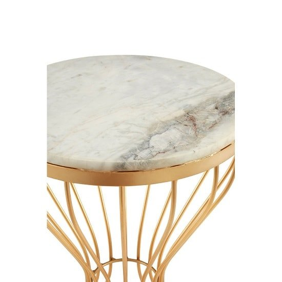 Prima Hourglass Design Marble Top Side Table With Gold Frame_2