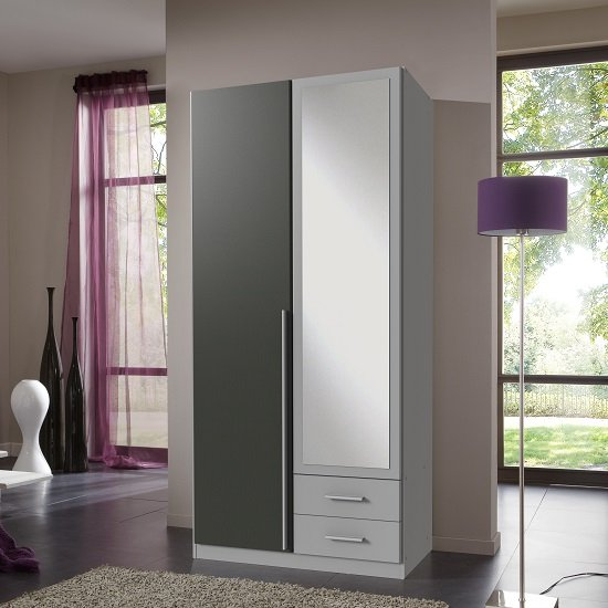 Primera Mirror Wardrobe In Aluminium Effect Graphite And 2 Doors