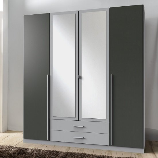 Primera Mirror Wardrobe Large In Aluminium Effect And Graphite