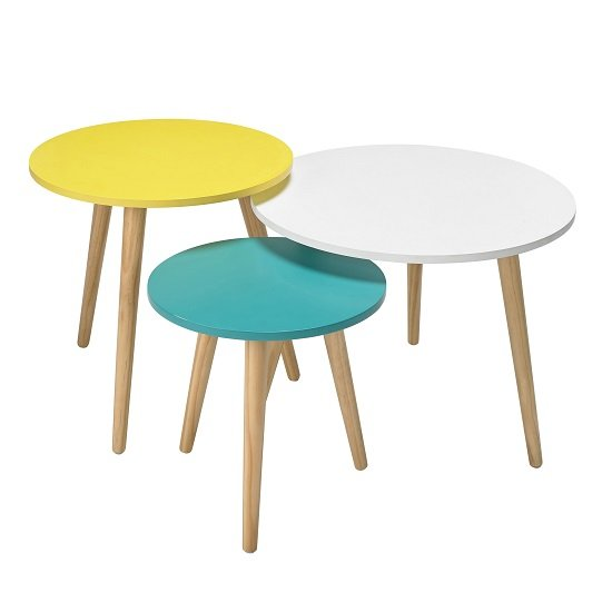 Primera Wooden Nest of 3 Tables Round In Multicolor