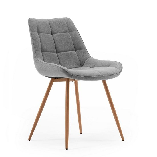 Primo Fabric Dining Chair In Grey With Sonoma Oak Legs