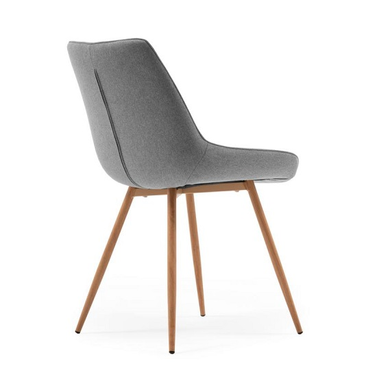 Primo Fabric Dining Chair In Grey With Sonoma Oak Legs_2