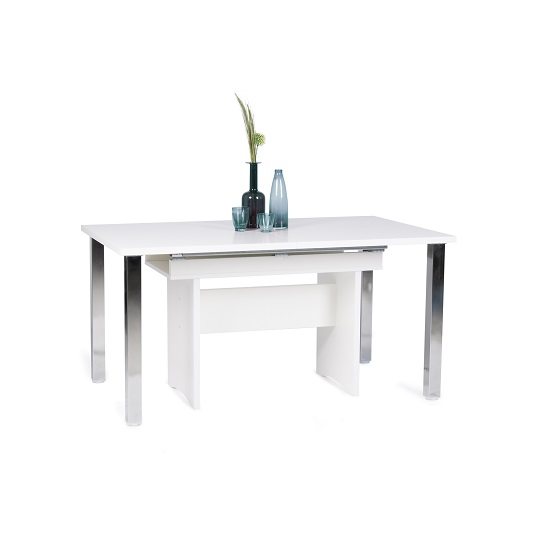 Primo Wooden Extendable Dining Table In White Wth Chrome Legs