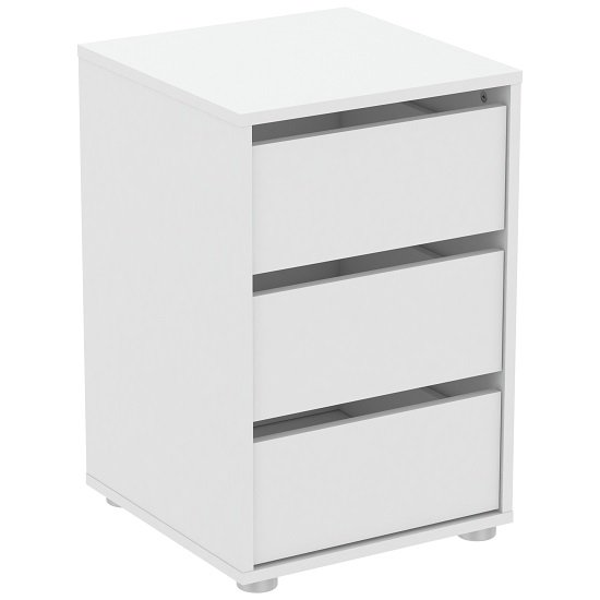 Primrose Bedside Cabinet In Matt White With 3 Drawers