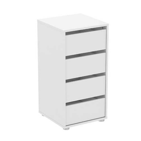 Primrose Chest Of Drawers Narrow In Matt White With 4 Drawers