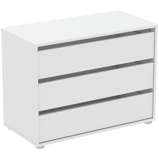 Primrose Chest Of Drawers Wide In Matt White With 3 Drawers