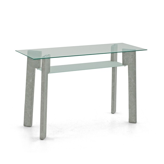Primus Glass Console Table Rectangular In Clear With Grey Legs