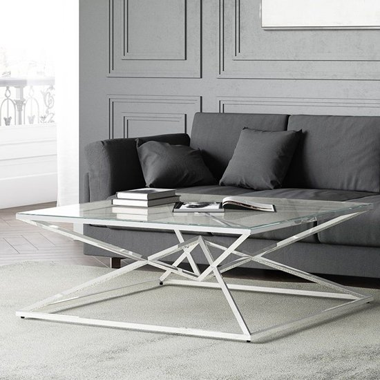 Prism Glass Coffee Table With Polished Stainless Steel Base