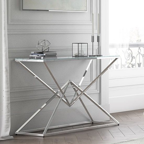 Prism Glass Console Table With Polished Stainless Steel Base