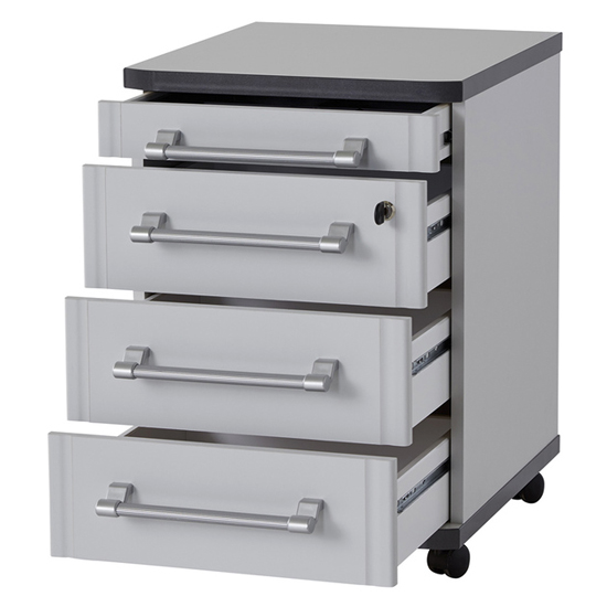 Profi Rolling Container With Drawers In Light Grey_2