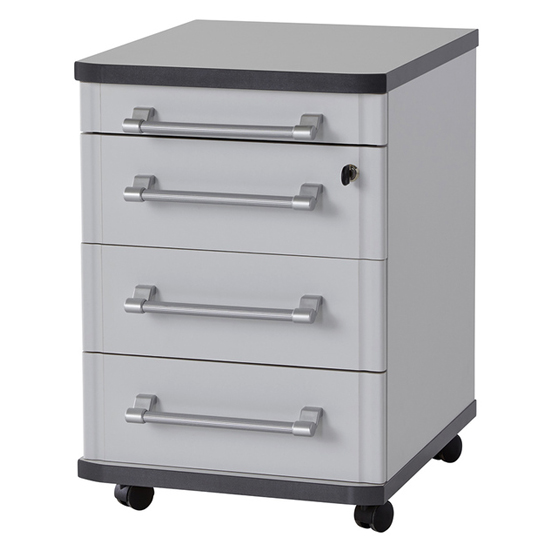 Profi Rolling Container With Drawers In Light Grey_1