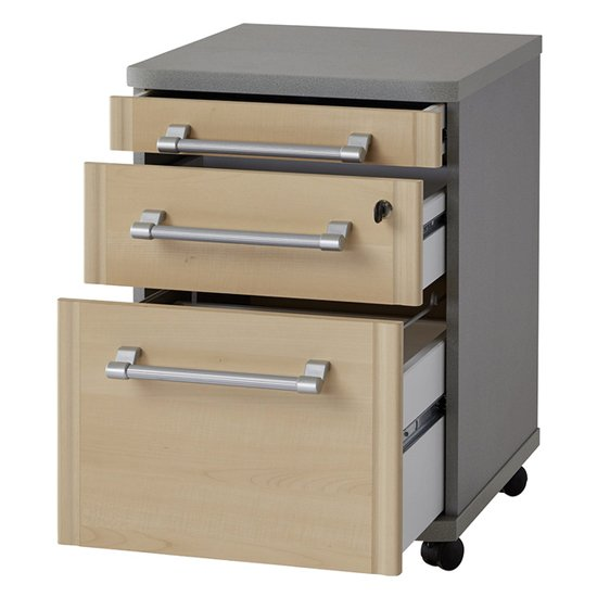 Profi Rolling File Cabinet With Drawers In Maple And Silver_2