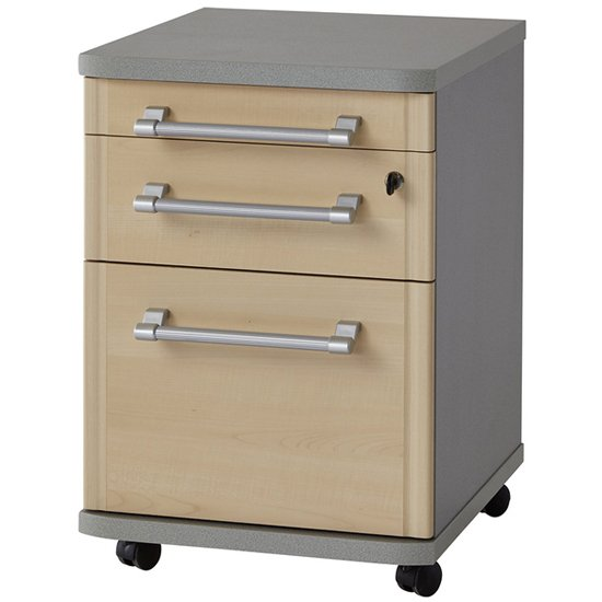Profi Rolling File Cabinet With Drawers In Maple And Silver_1