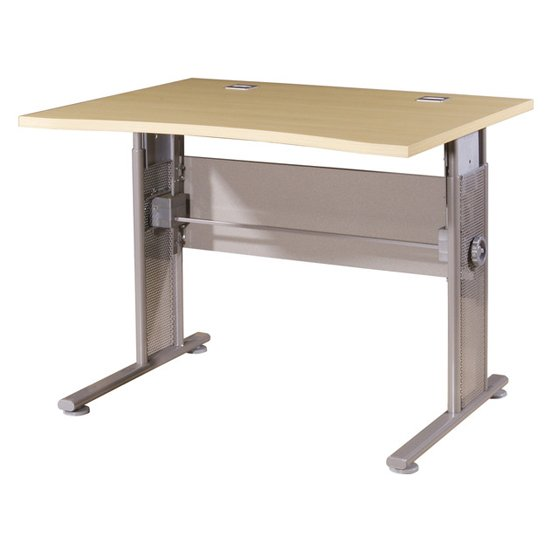 Profi Small Laptop Desk In Maple And Silver