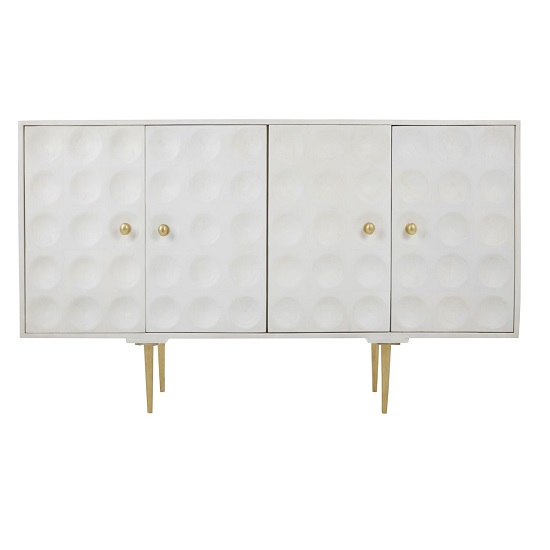 Profi Wooden Sideboard In White With Indented Circles Design