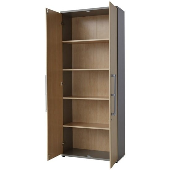 Profi Home Office Cabinet In Maple And Silver With 2 Doors_2