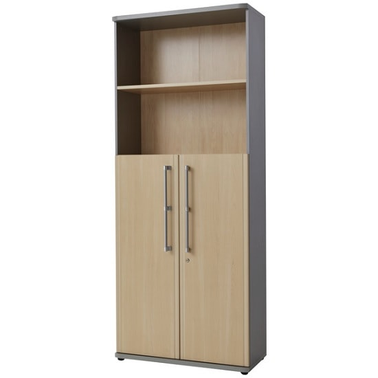 Profi Lockable Combination Filing Cabinet In Maple And Silver