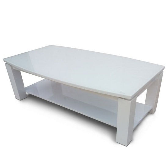 Promo Glass Coffee Table With White High Gloss And Undershelf