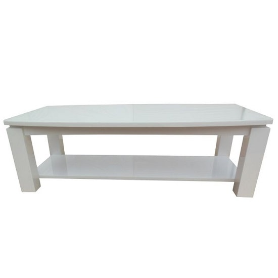 Promo Glass Coffee Table With White High Gloss And Undershelf_2