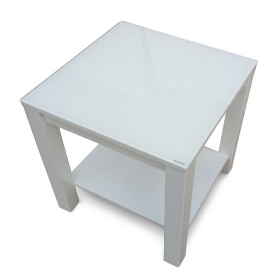 Promo Glass Side Table With White High Gloss And Undershelf_1