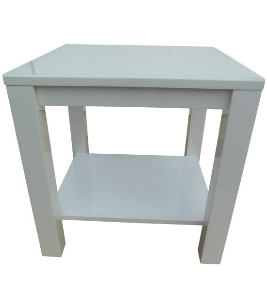 Promo Glass Side Table With White High Gloss And Undershelf_2
