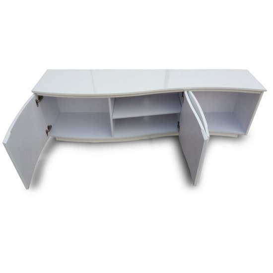 Promo Contemporary TV Stand In White High Gloss With LED_2