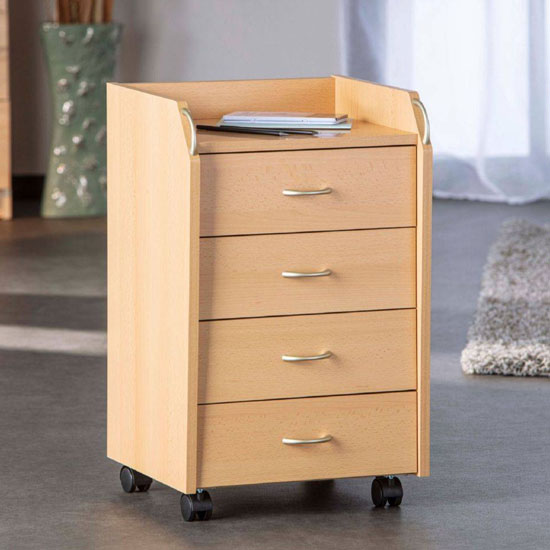 Pronto Office Pedestal Cabinet In Beech With 4 Drawers_1