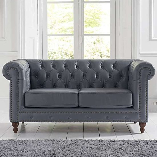 Propus Leather 2 Seater Sofa In Grey_2