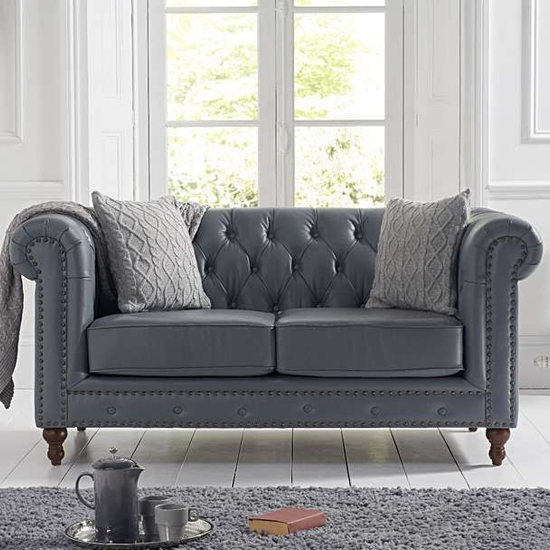 Propus Leather 2 Seater Sofa In Grey_1