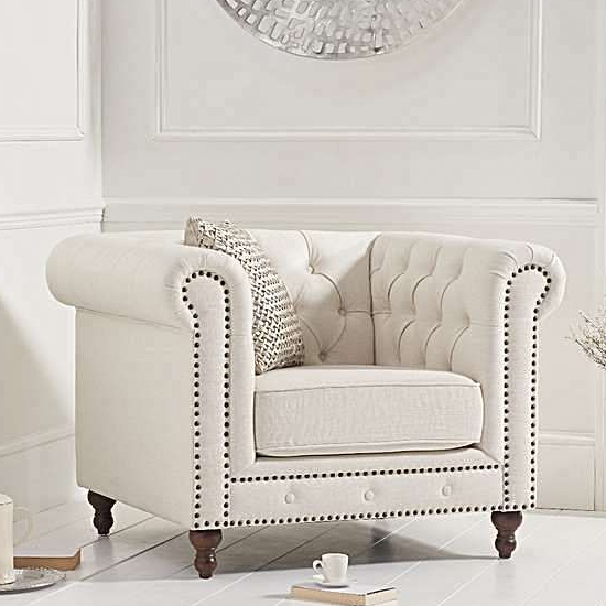 Propus Linen Lounge Chaise Armchair In Ivory
