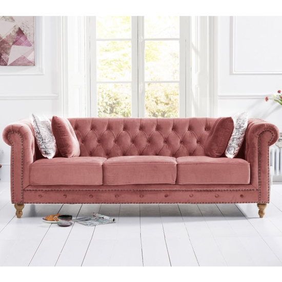 Propus Plush Fabric 3 Seater Sofa In Blush