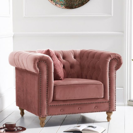 Propus Plush Fabric Lounge Chaise Armchair In Blush