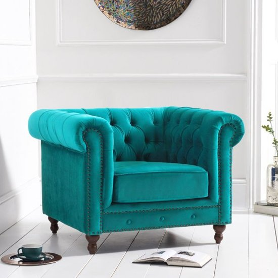 Propus Plush Fabric Lounge Chaise Armchair In Teal_2
