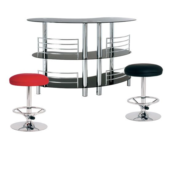 Prosecco Glass Bar Table With Jumbo Red And Black Stools