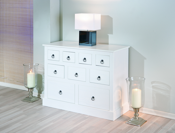 View Stanley 9 drawer chest in solid white wood