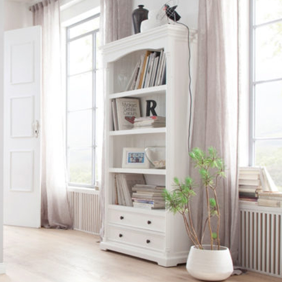 View Proviko wooden bookcase with 2 drawers in classic white