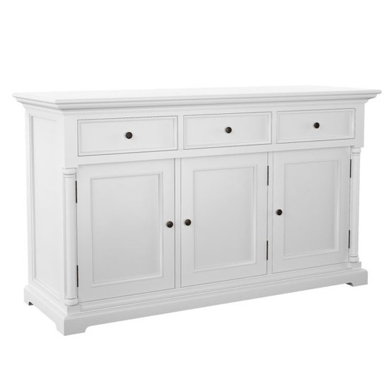 Proviko Wooden Classic Sideboard With 3 Doors In Classic White