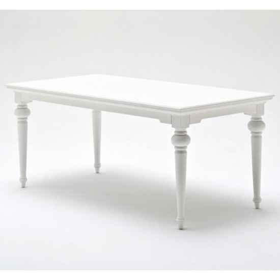 Proviko Wooden Dining Table In Classic White