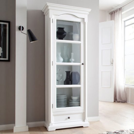 Proviko Glass Door Wooden Display Cabinet In Classic White
