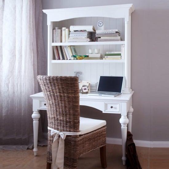 View Proviko secretary computer desk with hutch in classic white
