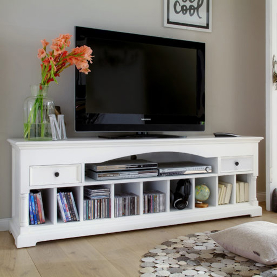 Proviko Wooden TV Stand In Classic White
