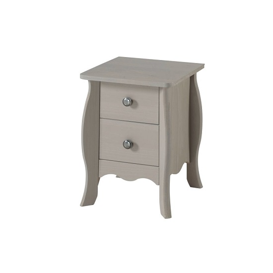 Province Small Bedside Cabinet In Grey With Two Drawers
