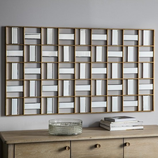 Province Wall Mirror Rectangular In Gold Finish