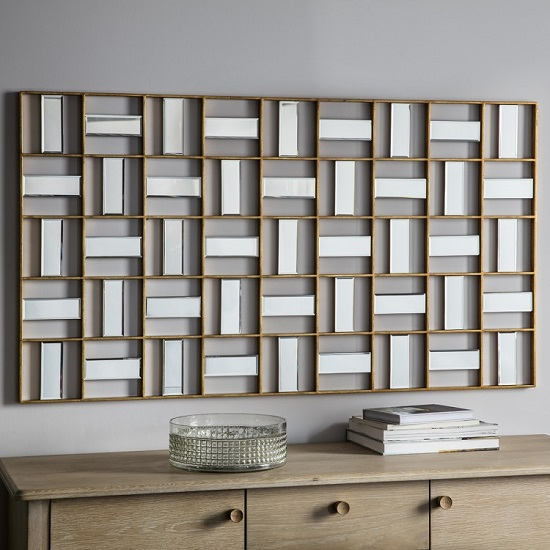 Province Wall Mirror Rectangular In Gold Finish_1